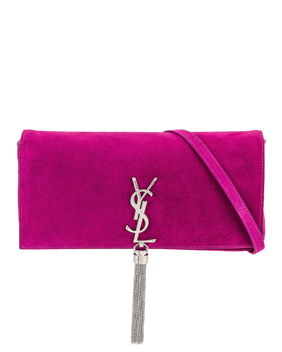 Image 1 of Saint Laurent Kate Light Suede Supple 99 With Tassel in Electric Fuchsia & Electric Fuchsia