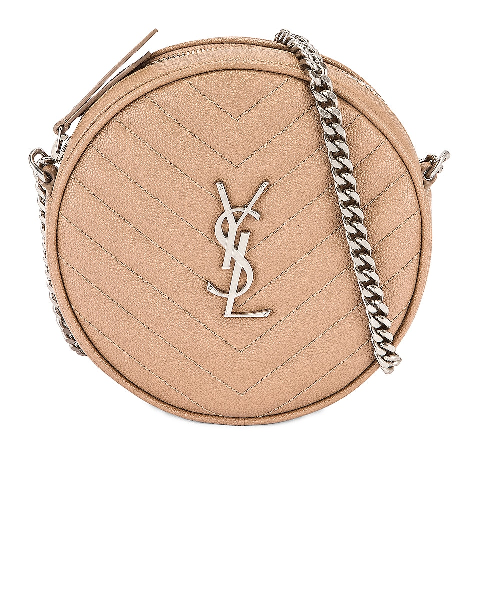 Image 1 of Saint Laurent Vinyle Round Camera Bag in Gold Sand