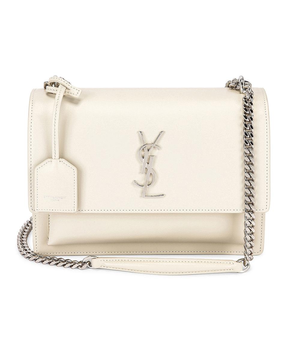 Image 1 of Saint Laurent Medium Sunset Chain Bag in Blanc Vintage