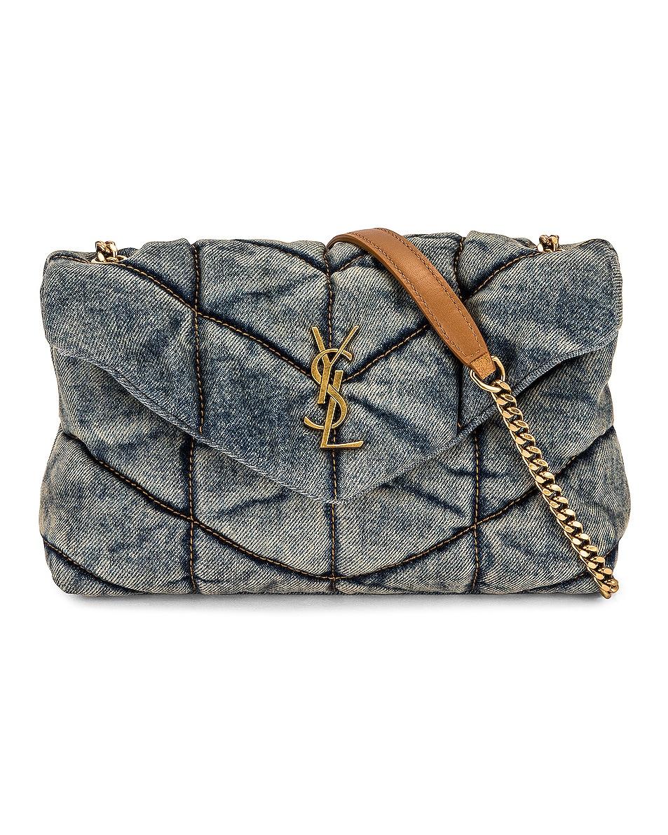 Image 1 of Saint Laurent Toy Puffer Bag in Indigo Blue & Cinnamon
