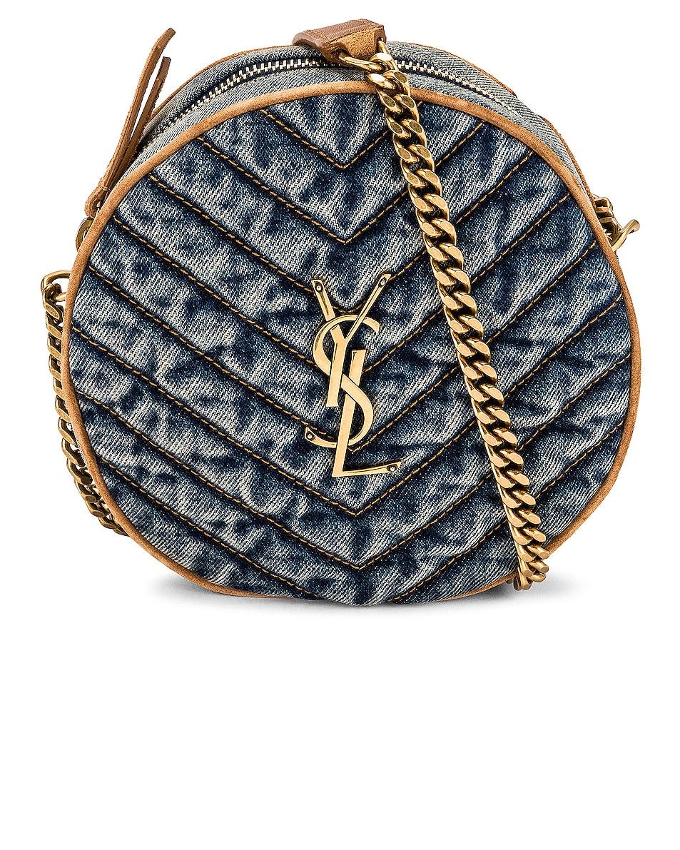 Image 1 of Saint Laurent Vinyle Round Camera Bag in Indigo Blue & Cinnamon