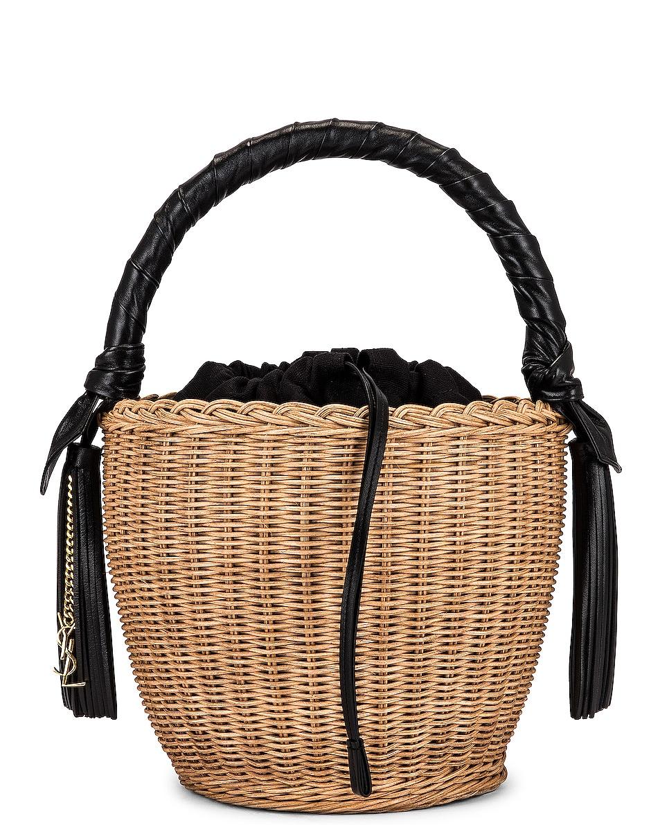 Image 1 of Saint Laurent Round Panier Bag in Naturel & Noir