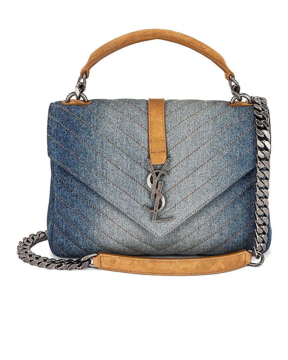 Image 1 of Saint Laurent Medium College Chain Bag in Dirty Denim & Cinnamon