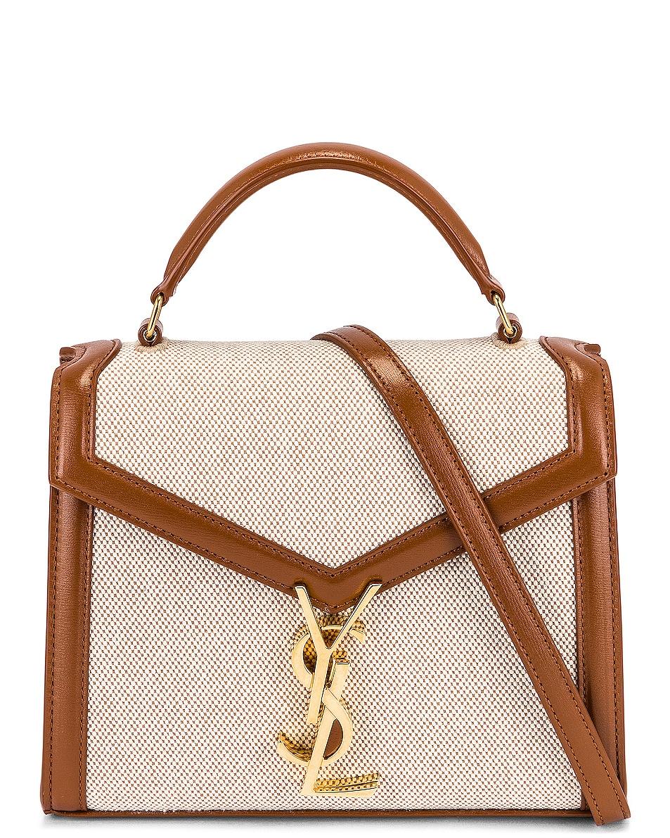 Image 1 of Saint Laurent Mini Cassandra Top Handle Bag in Naturel & Beige & Brick