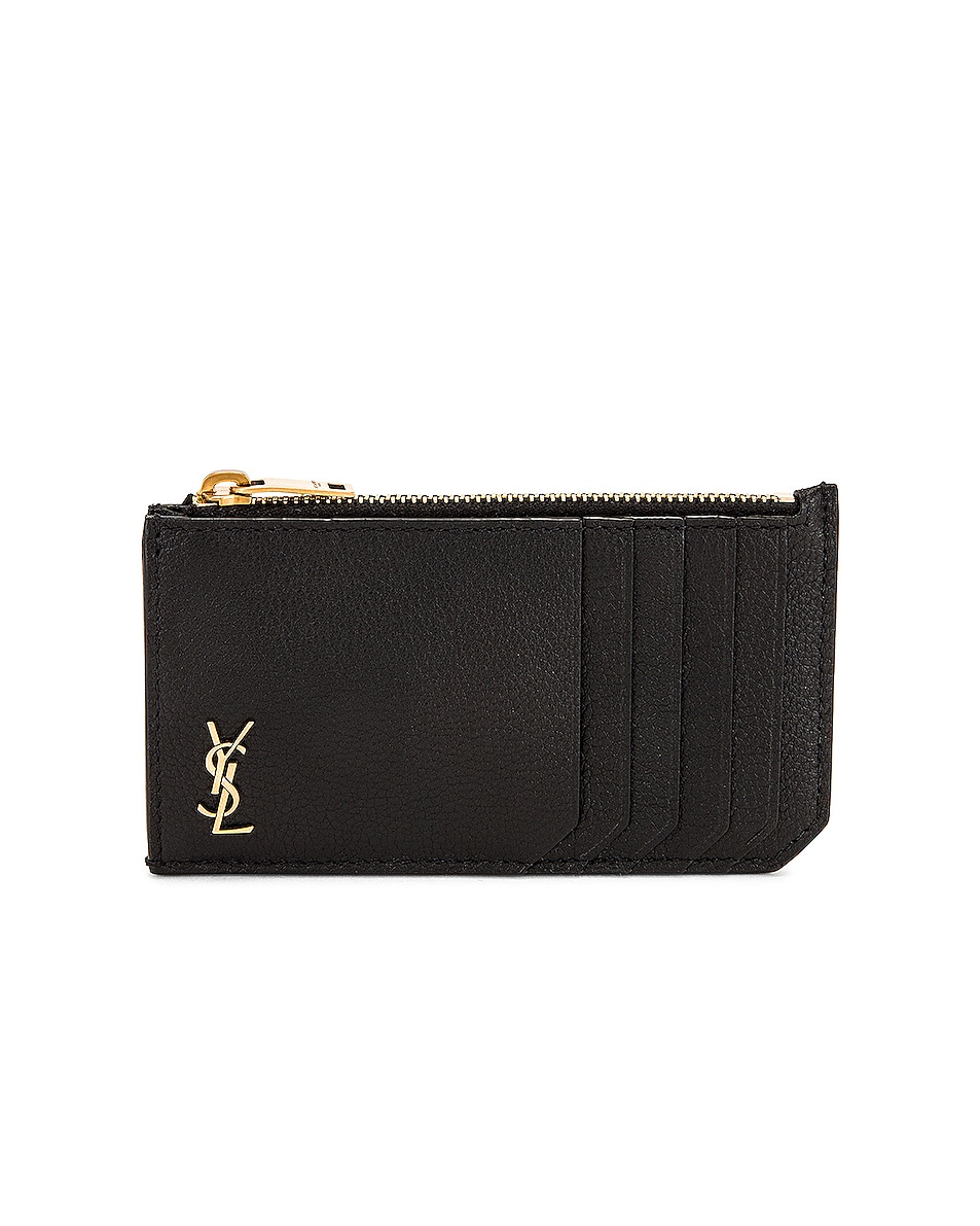 Image 1 of Saint Laurent Tiny Monogramme Zipped Fragments Card Holder in Nero