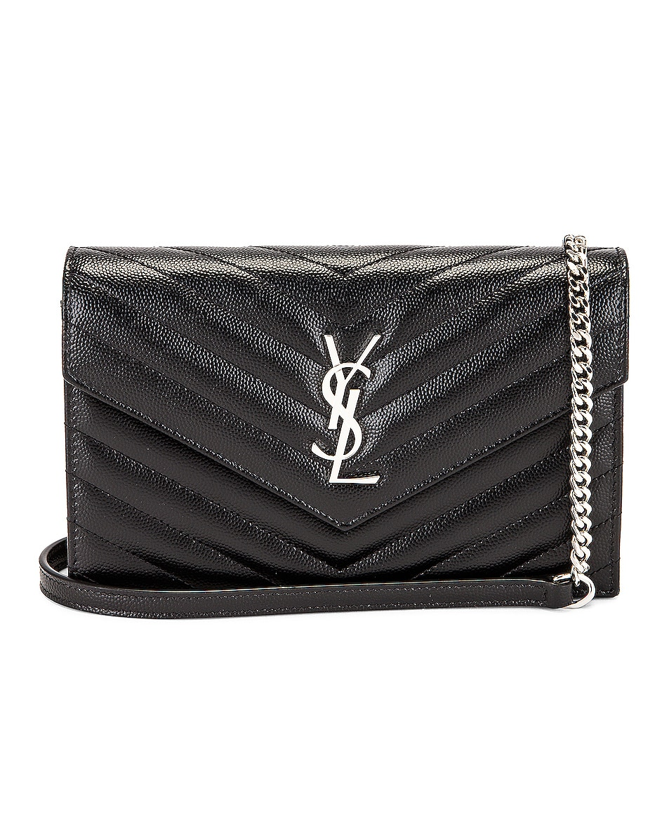 Image 1 of Saint Laurent Envelope Chain Wallet Bag in Nero