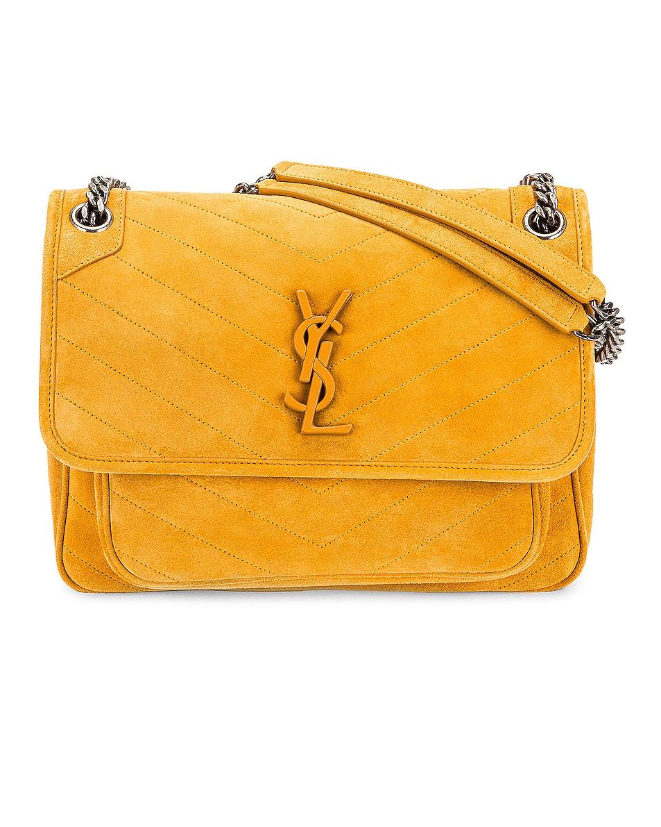 Image 1 of Saint Laurent Medium Niki Suede Chain Bag in Cheddar & Cheddar
