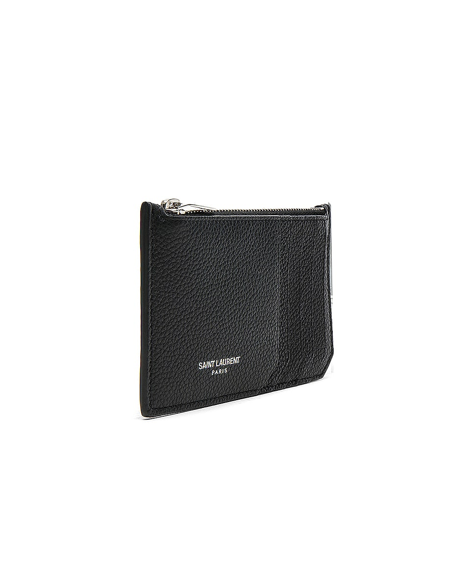 Image 3 of Saint Laurent Zipped Fragments Credit Card Case in Black