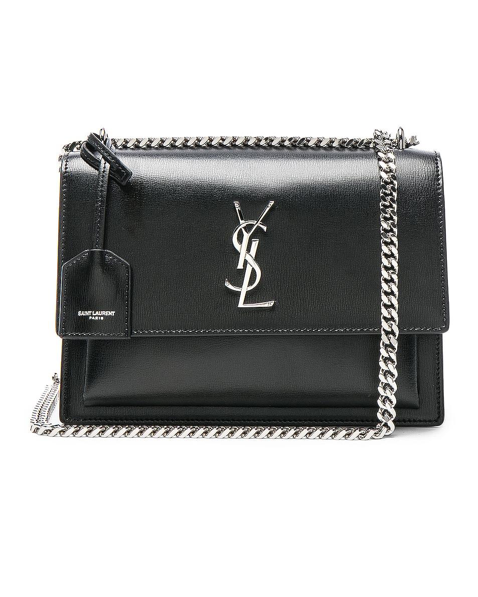 Image 1 of Saint Laurent Medium Monogramme Sunset Chain Bag in Black