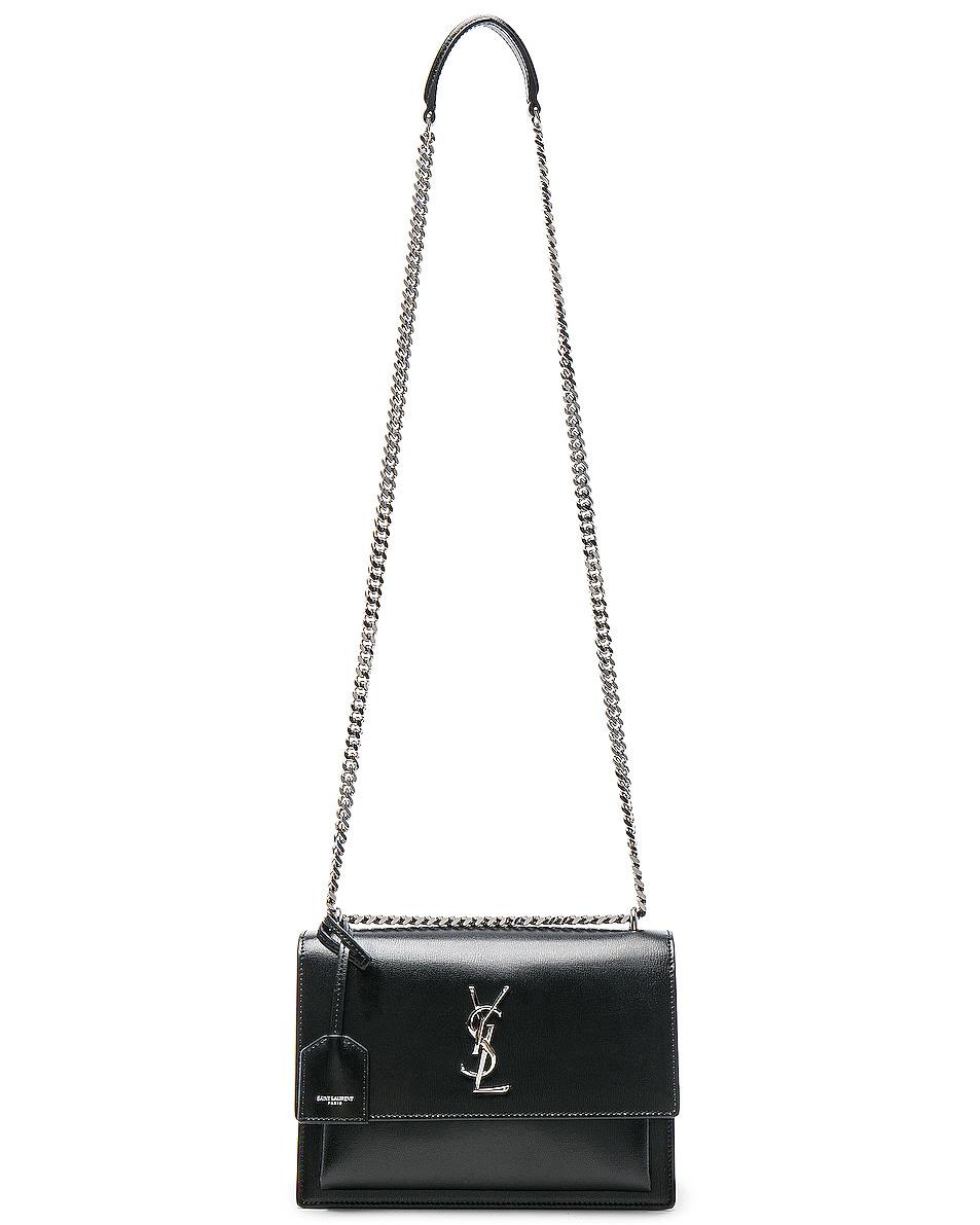 Image 6 of Saint Laurent Medium Monogramme Sunset Chain Bag in Black