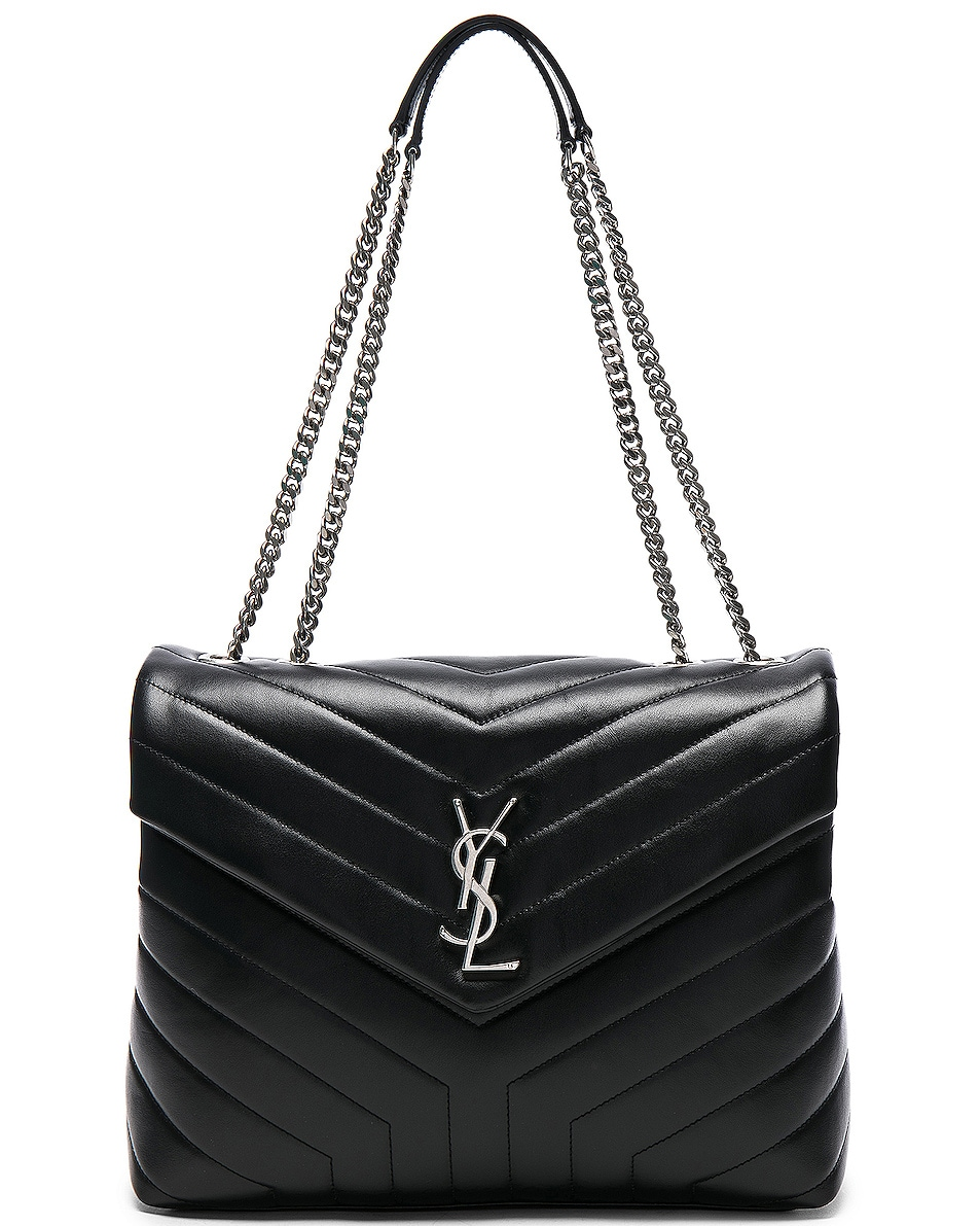 Image 1 of Saint Laurent Medium Supple Monogramme Loulou Chain Bag in Black