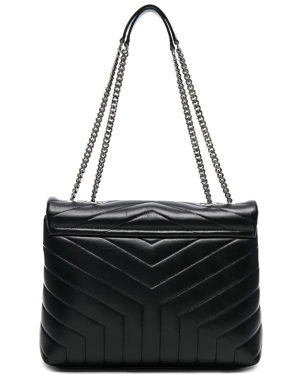 Image 3 of Saint Laurent Medium Supple Monogramme Loulou Chain Bag in Black