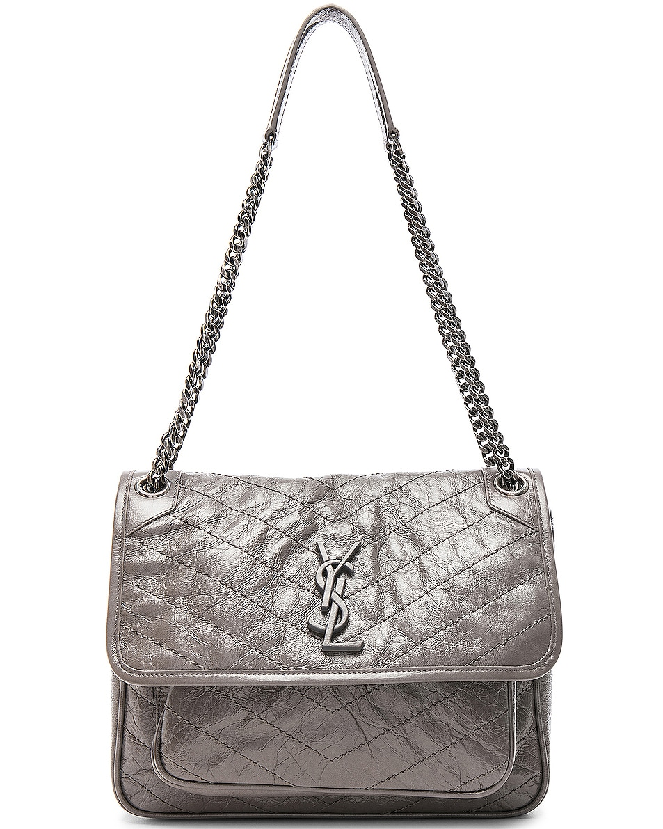 Image 1 of Saint Laurent Medium Niki Monogramme Chain Bag in Fog