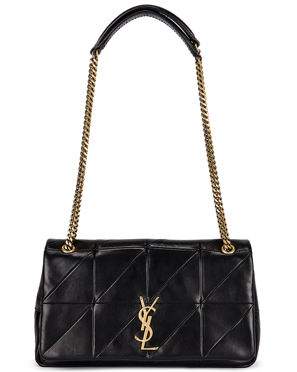 Image 1 of Saint Laurent Small Patchwork Leather Monogramme Jamie Chain Bag in Black