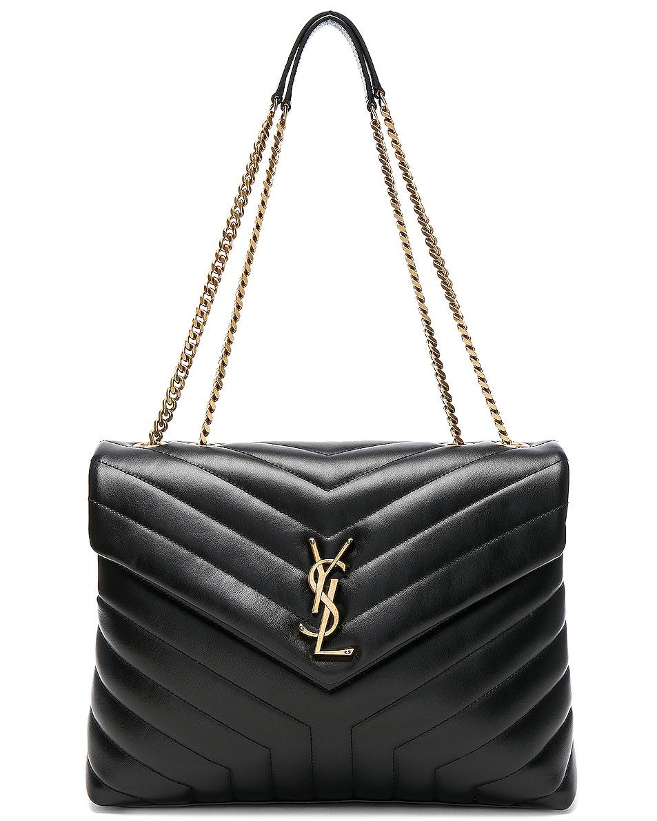 Image 1 of Saint Laurent Medium Supple Monogramme Loulou Chain Bag in Black & Gold