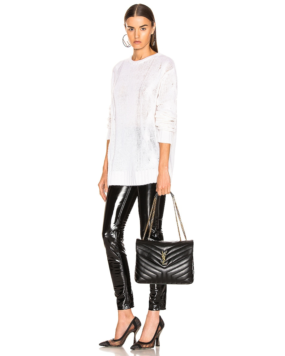 Image 2 of Saint Laurent Medium Supple Monogramme Loulou Chain Bag in Black & Gold