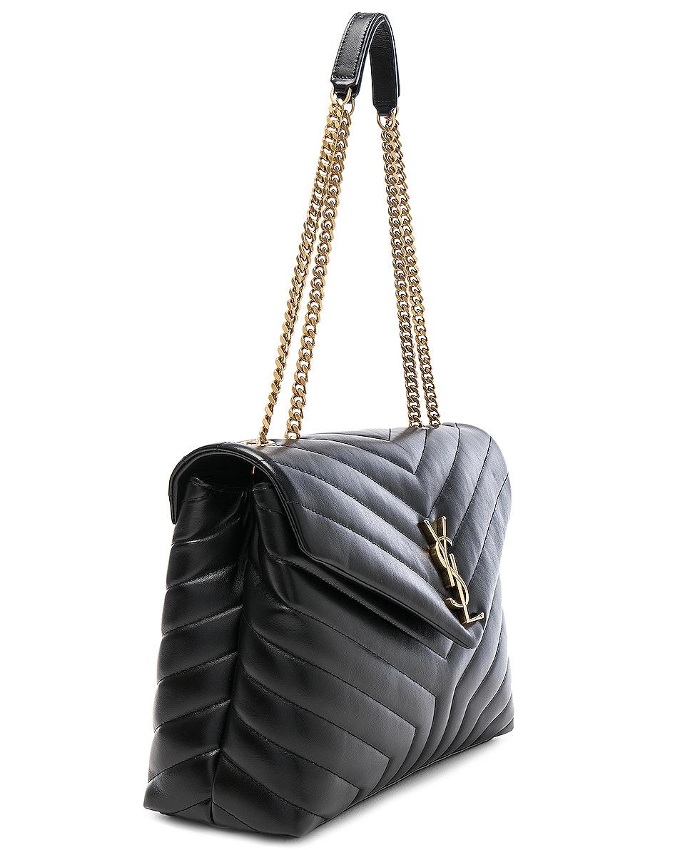 Image 4 of Saint Laurent Medium Supple Monogramme Loulou Chain Bag in Black & Gold