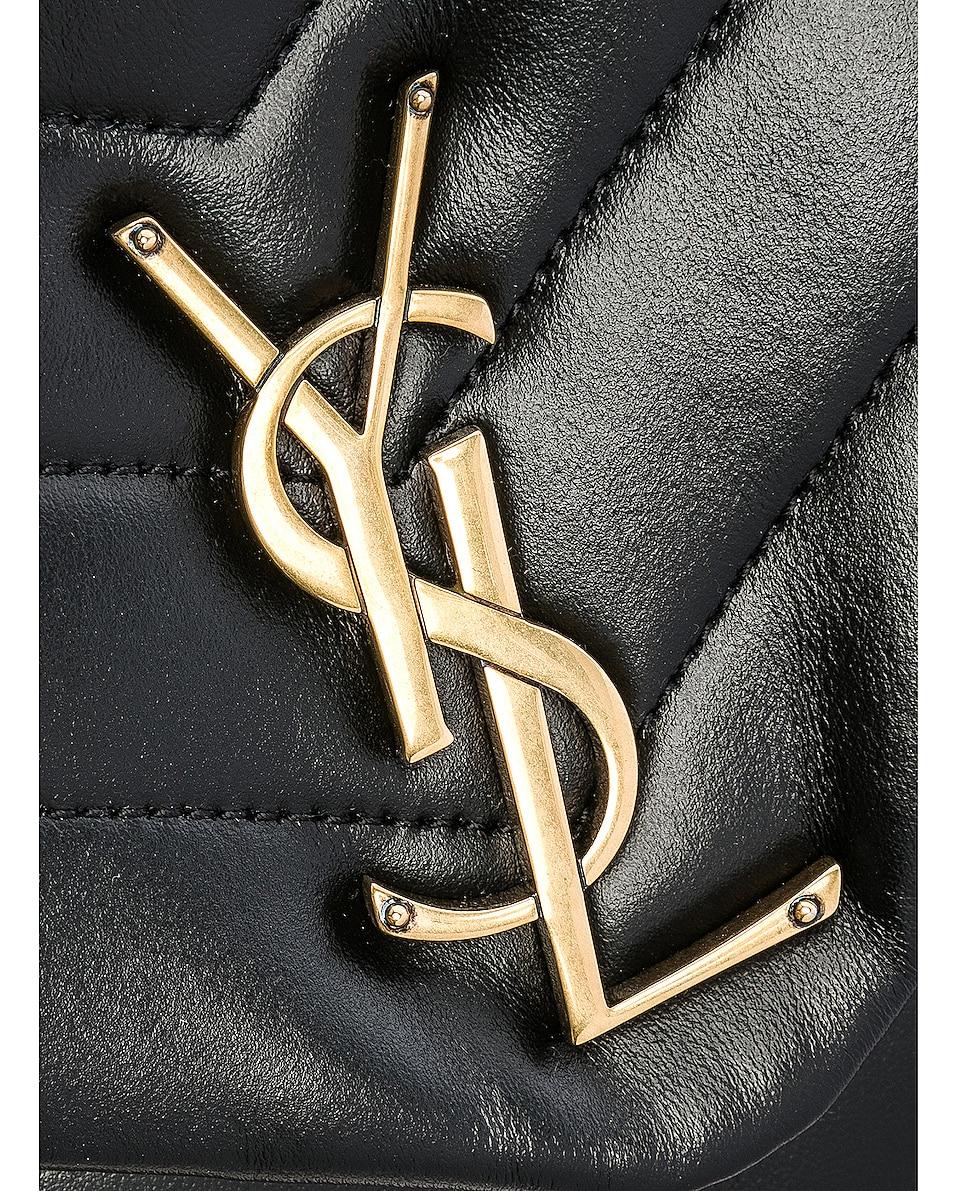Image 7 of Saint Laurent Medium Supple Monogramme Loulou Chain Bag in Black & Gold