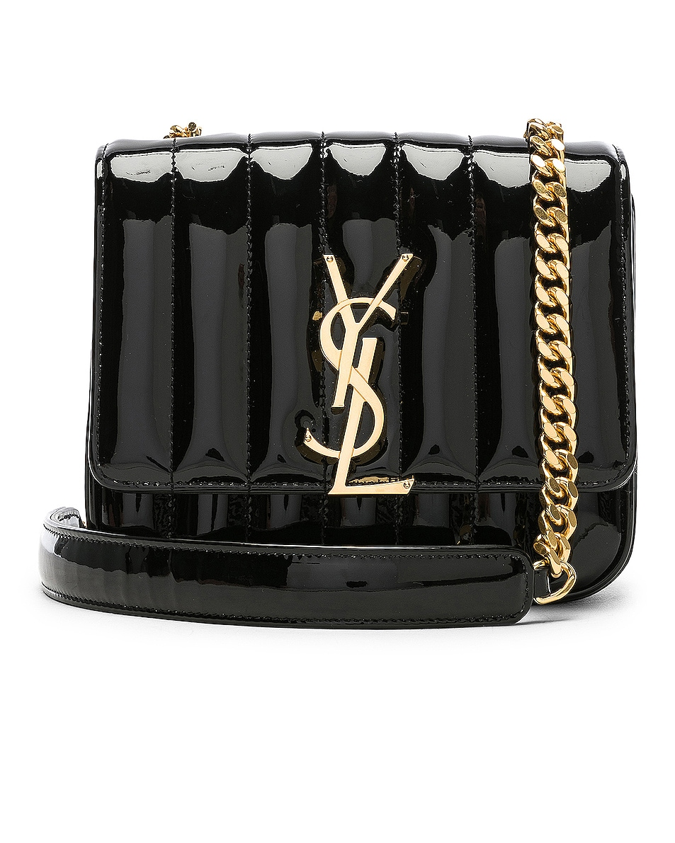 Image 1 of Saint Laurent Small Supple Monogramme Vicky Chain Bag in Black