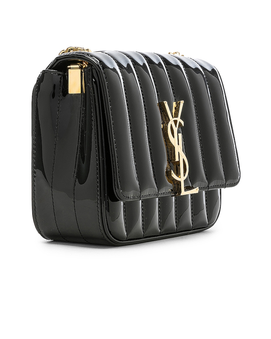 Image 4 of Saint Laurent Small Supple Monogramme Vicky Chain Bag in Black