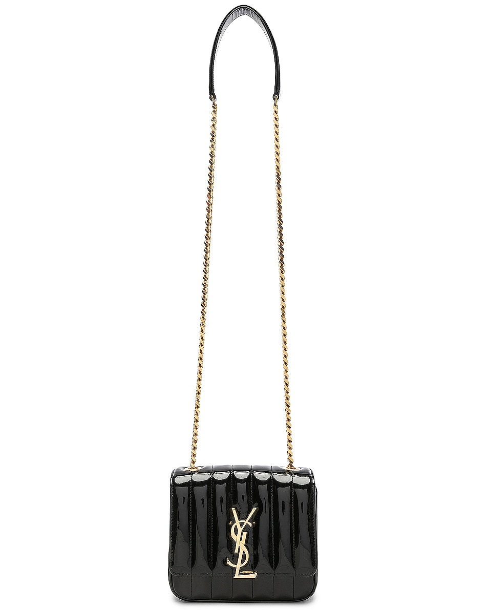 Image 6 of Saint Laurent Small Supple Monogramme Vicky Chain Bag in Black