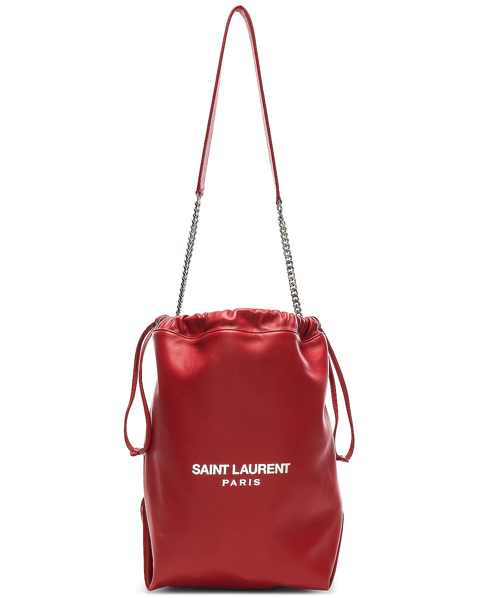 Image 1 of Saint Laurent Supple Logo Teddy Pouch in Eros Red