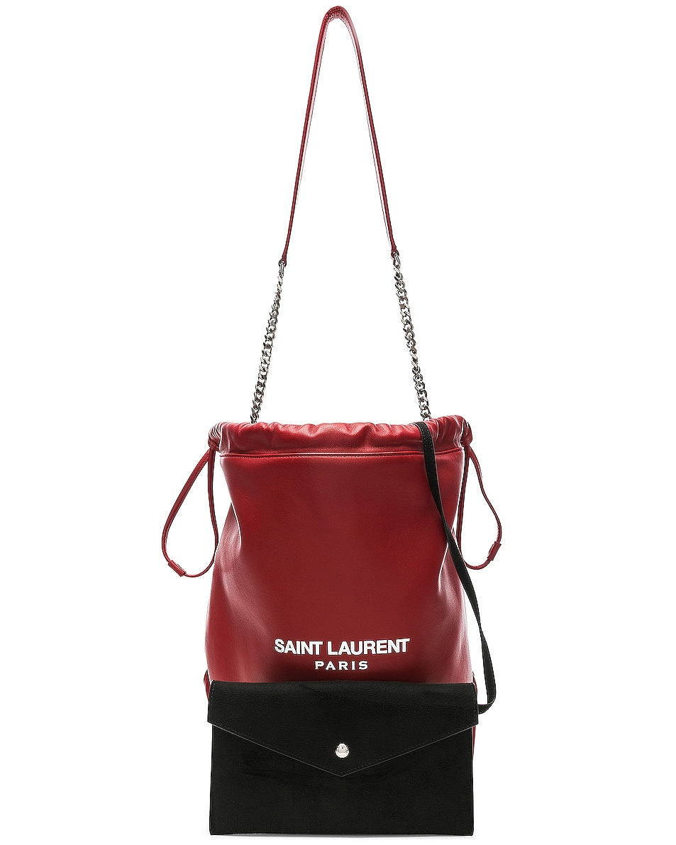 Image 6 of Saint Laurent Supple Logo Teddy Pouch in Eros Red