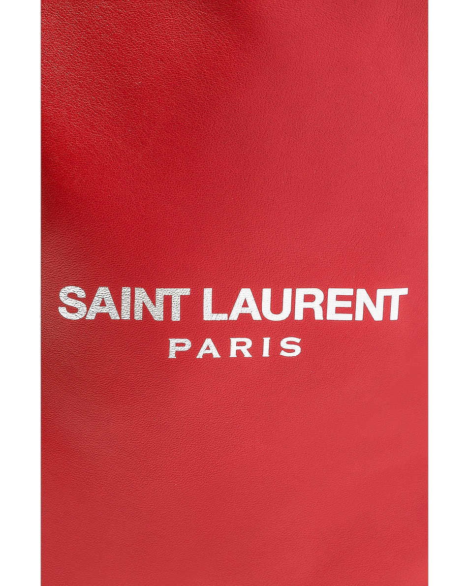 Image 7 of Saint Laurent Supple Logo Teddy Pouch in Eros Red