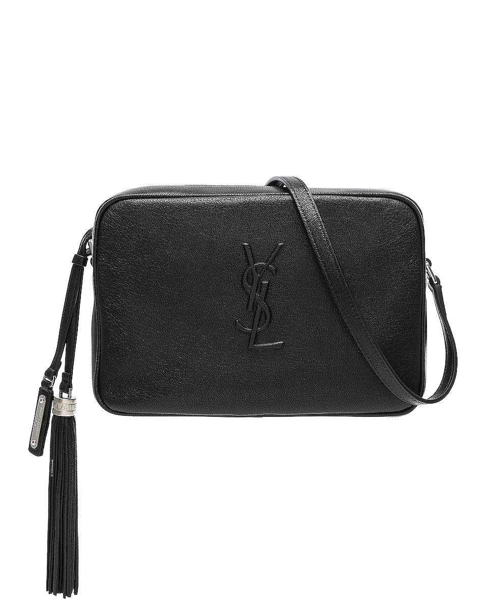 Image 1 of Saint Laurent Medium Logo Embossed Lou Satchel in Black