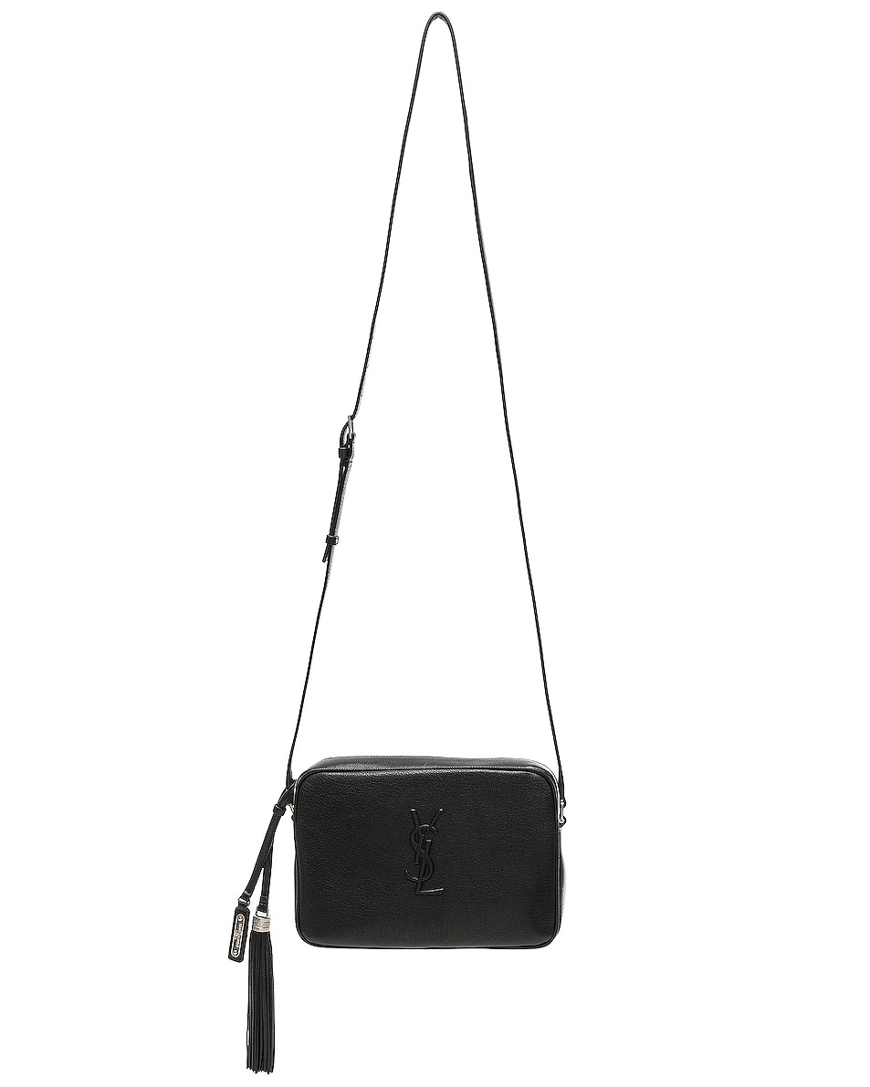 Image 6 of Saint Laurent Medium Logo Embossed Lou Satchel in Black