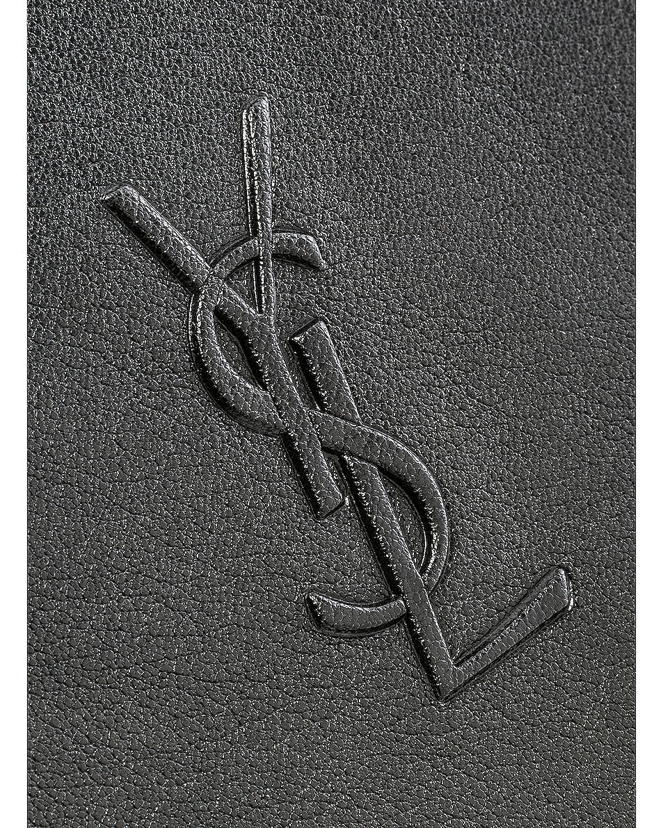 Image 8 of Saint Laurent Medium Logo Embossed Lou Satchel in Black