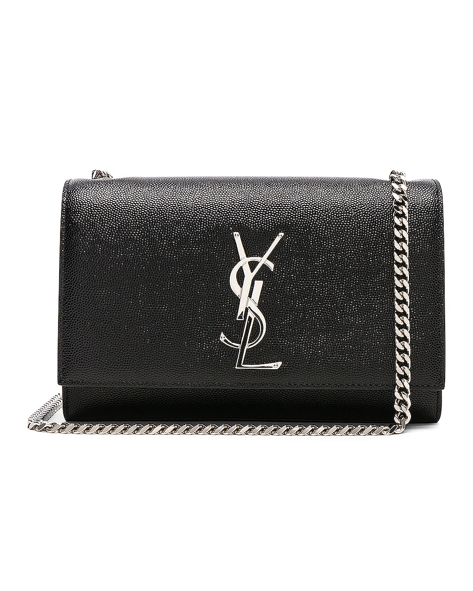 Image 1 of Saint Laurent Small Monogramme Kate Chain Bag in Black & Silver
