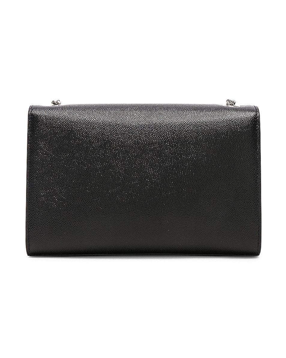 Image 3 of Saint Laurent Small Monogramme Kate Chain Bag in Black & Silver