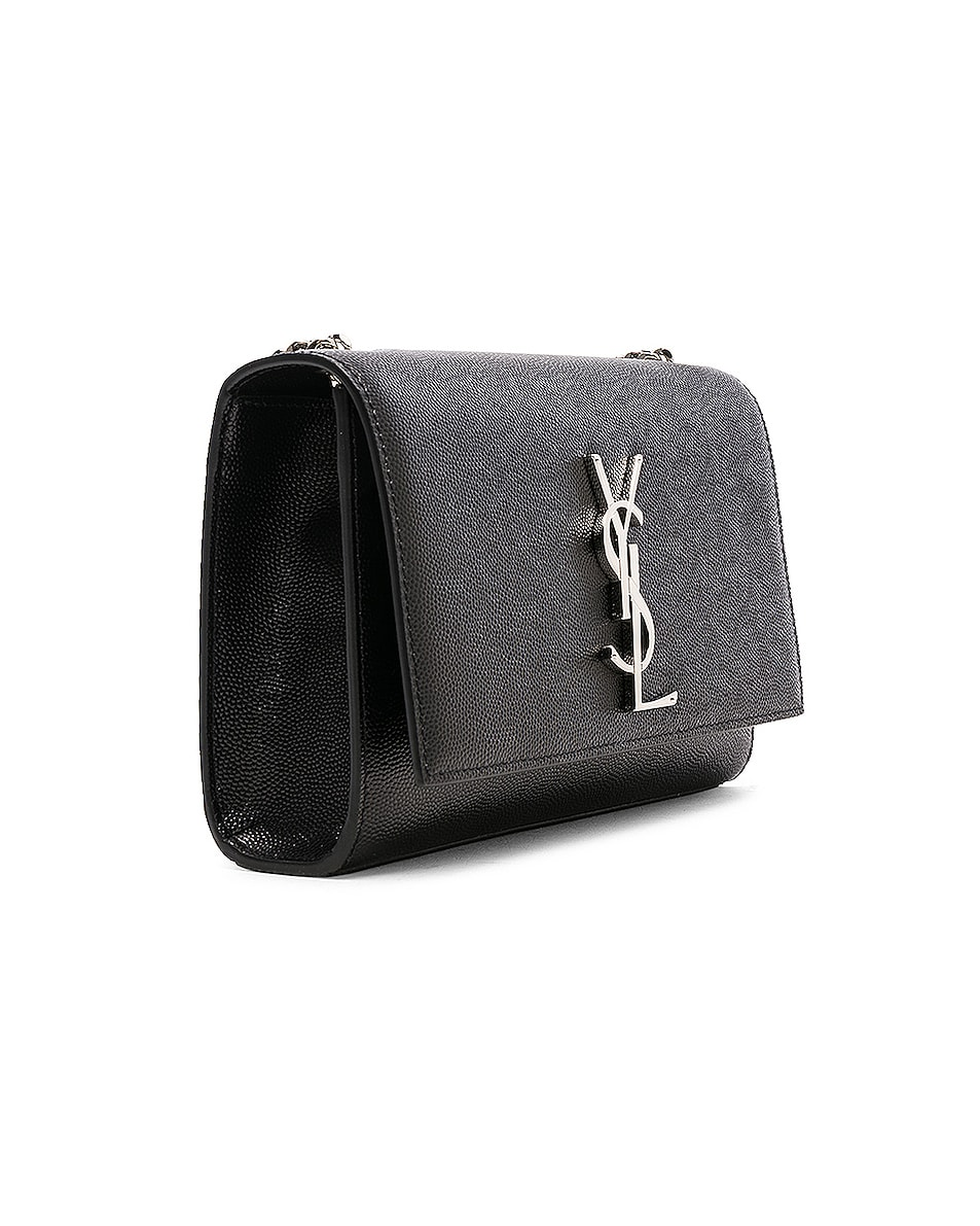 Image 4 of Saint Laurent Small Monogramme Kate Chain Bag in Black & Silver