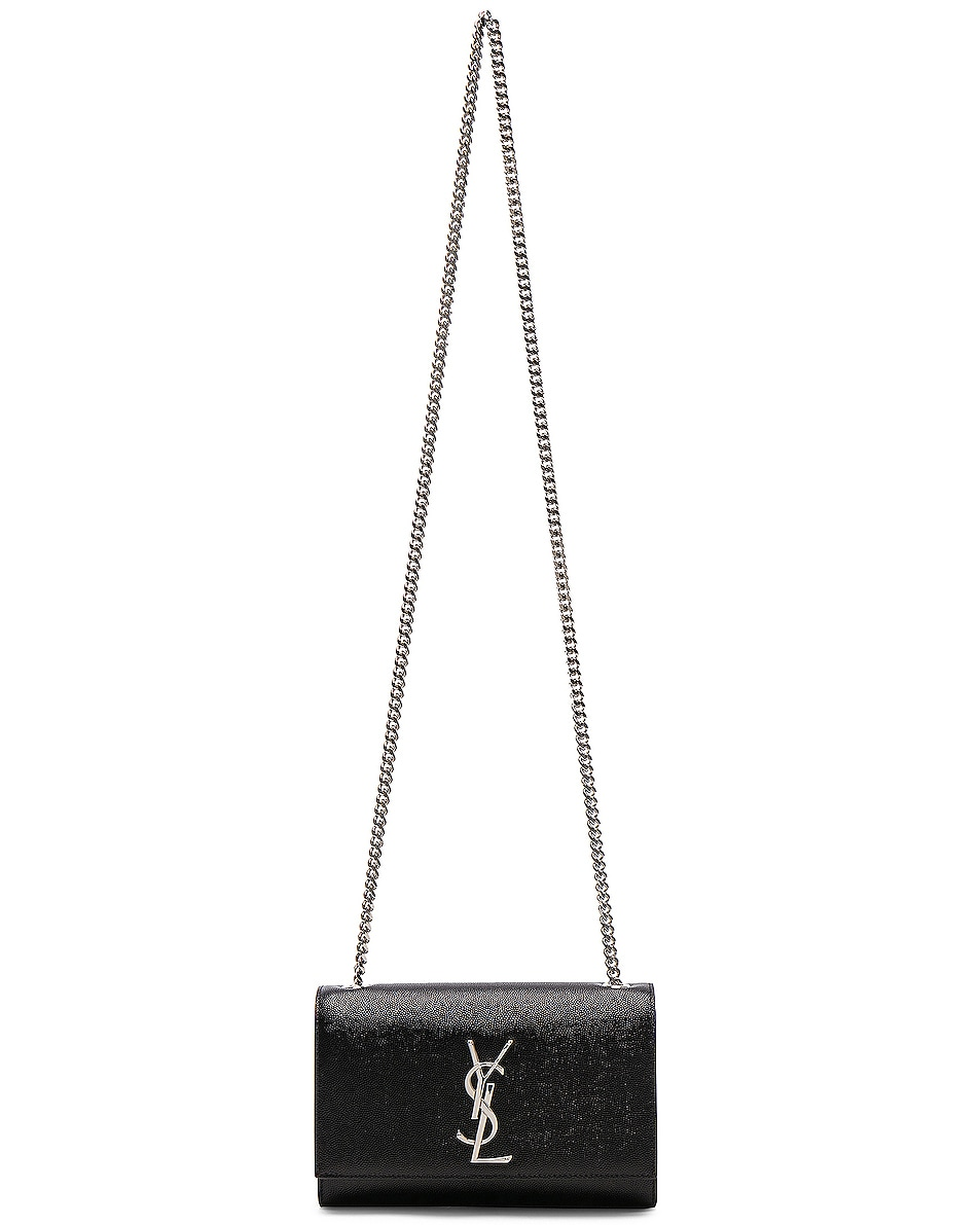 Image 6 of Saint Laurent Small Monogramme Kate Chain Bag in Black & Silver