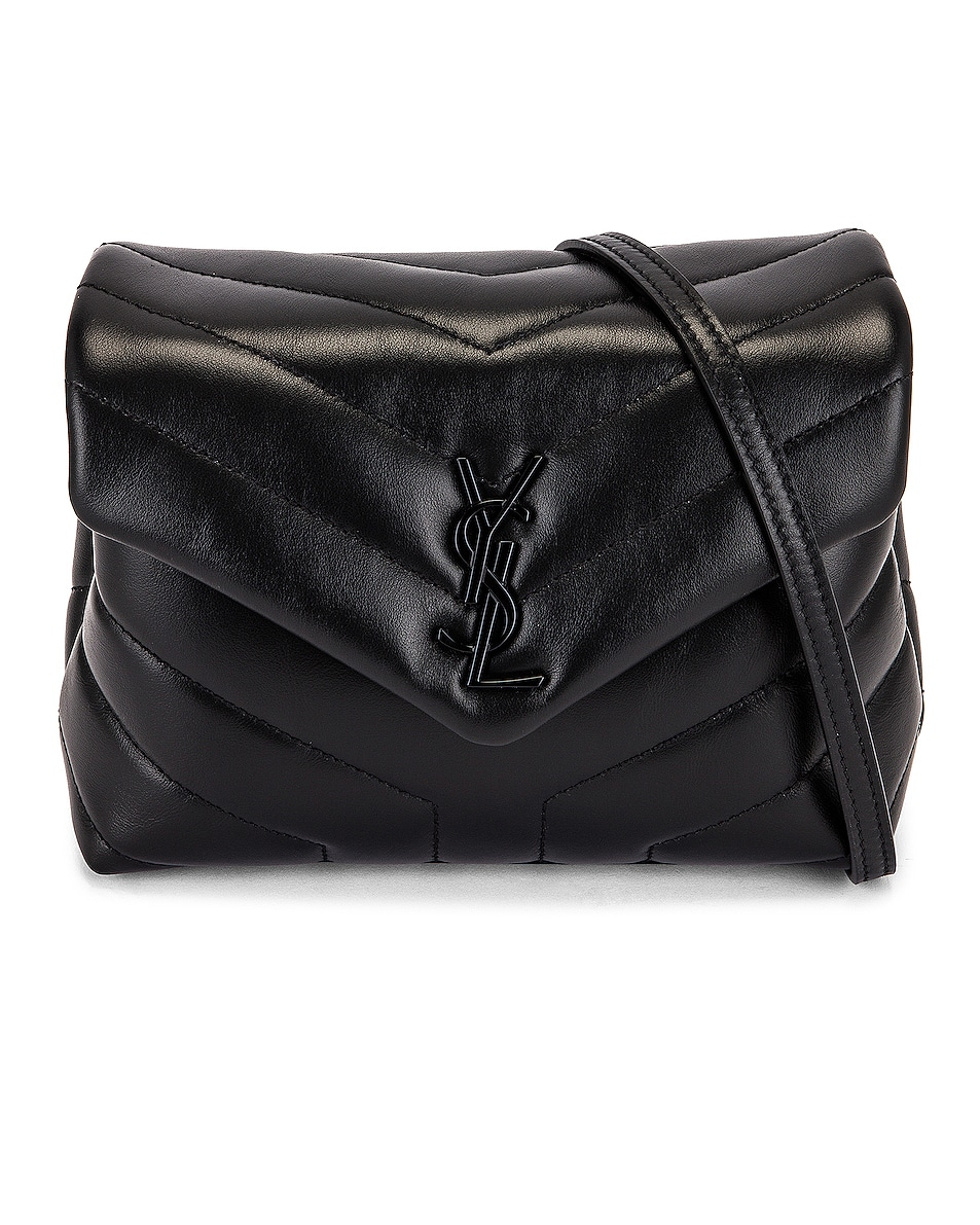 Image 1 of Saint Laurent Toy Strap Loulou Bag in Black & Black