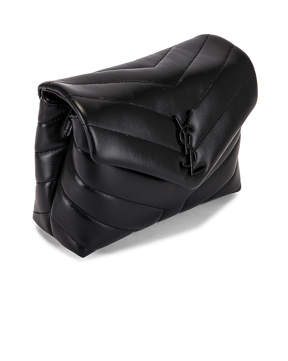 Image 4 of Saint Laurent Toy Supple Monogramme Loulou Strap Bag in Black & Black