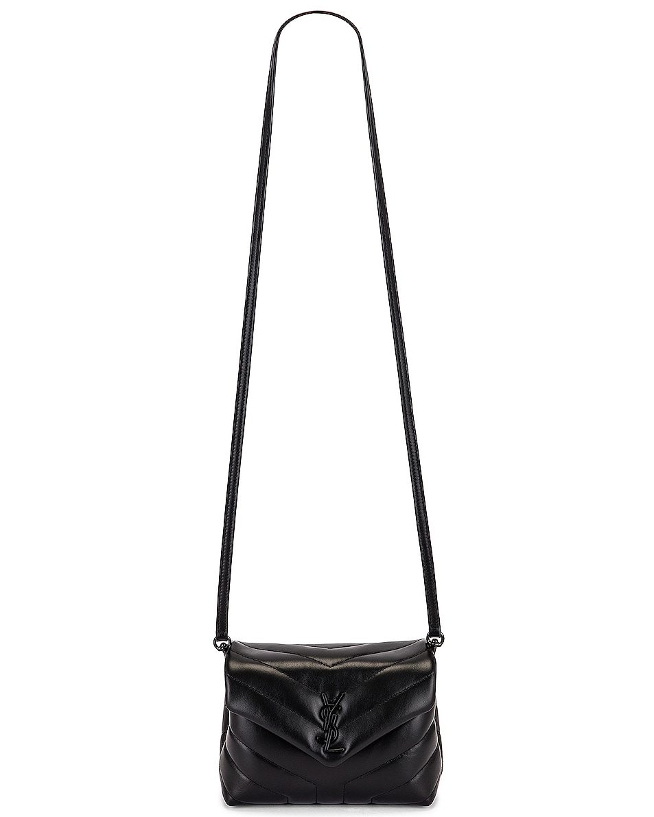 Image 6 of Saint Laurent Toy Supple Monogramme Loulou Strap Bag in Black & Black