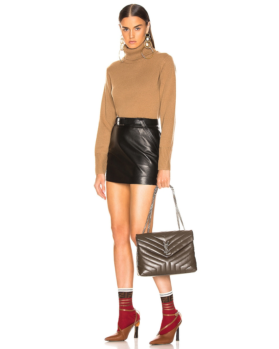 Image 2 of Saint Laurent Monogramme LouLou Shoulder Bag in Faggio & Faggio