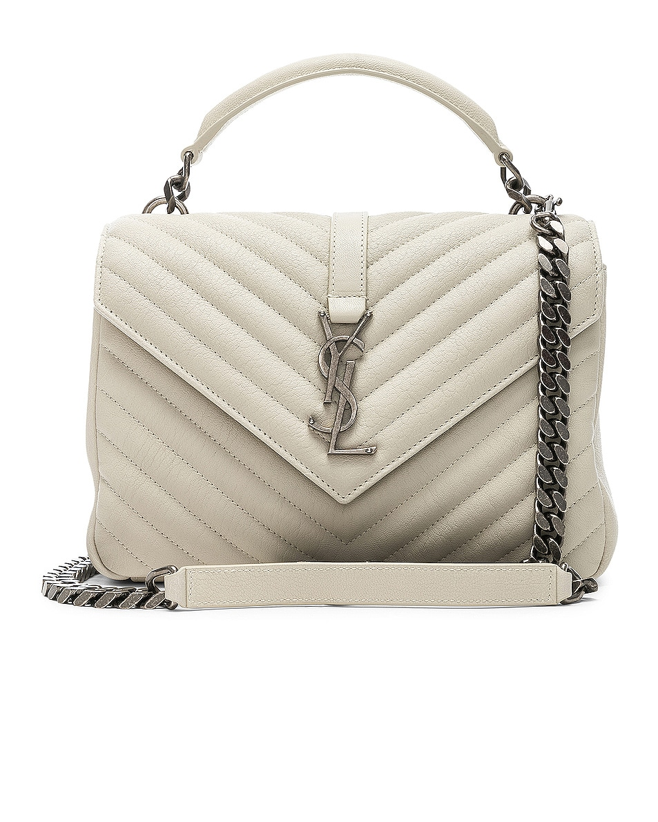 Image 1 of Saint Laurent Medium Monogramme College Bag in Crema Soft