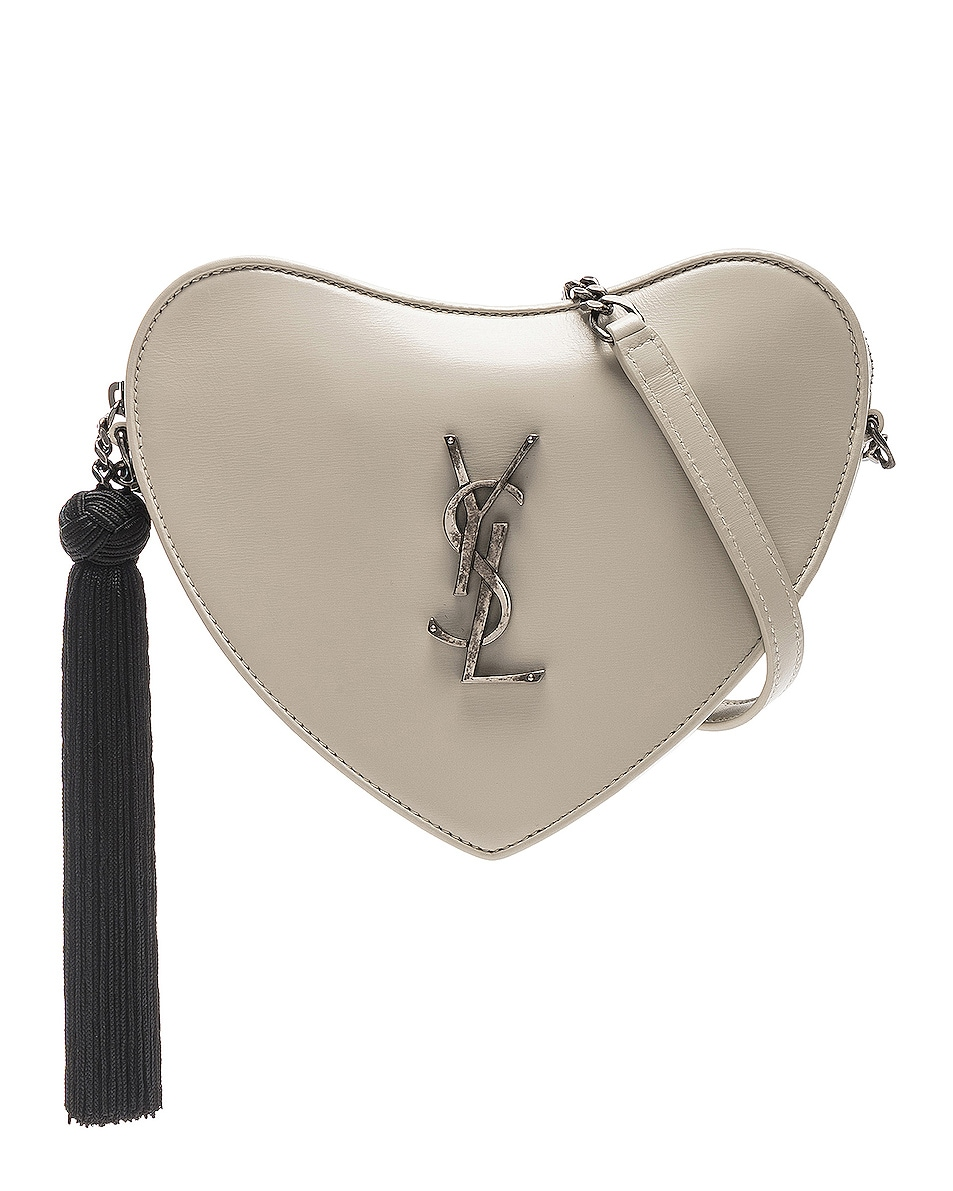 Image 1 of Saint Laurent Sac Coeur Monogram Heart Chain Bag in Blanc Vintage & Black
