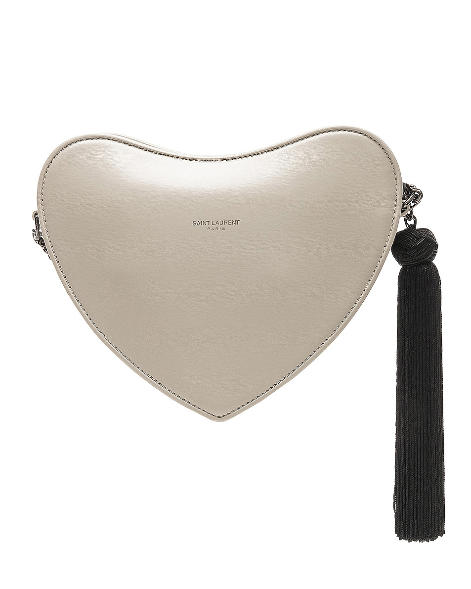 Image 3 of Saint Laurent Sac Coeur Monogram Heart Chain Bag in Blanc Vintage & Black