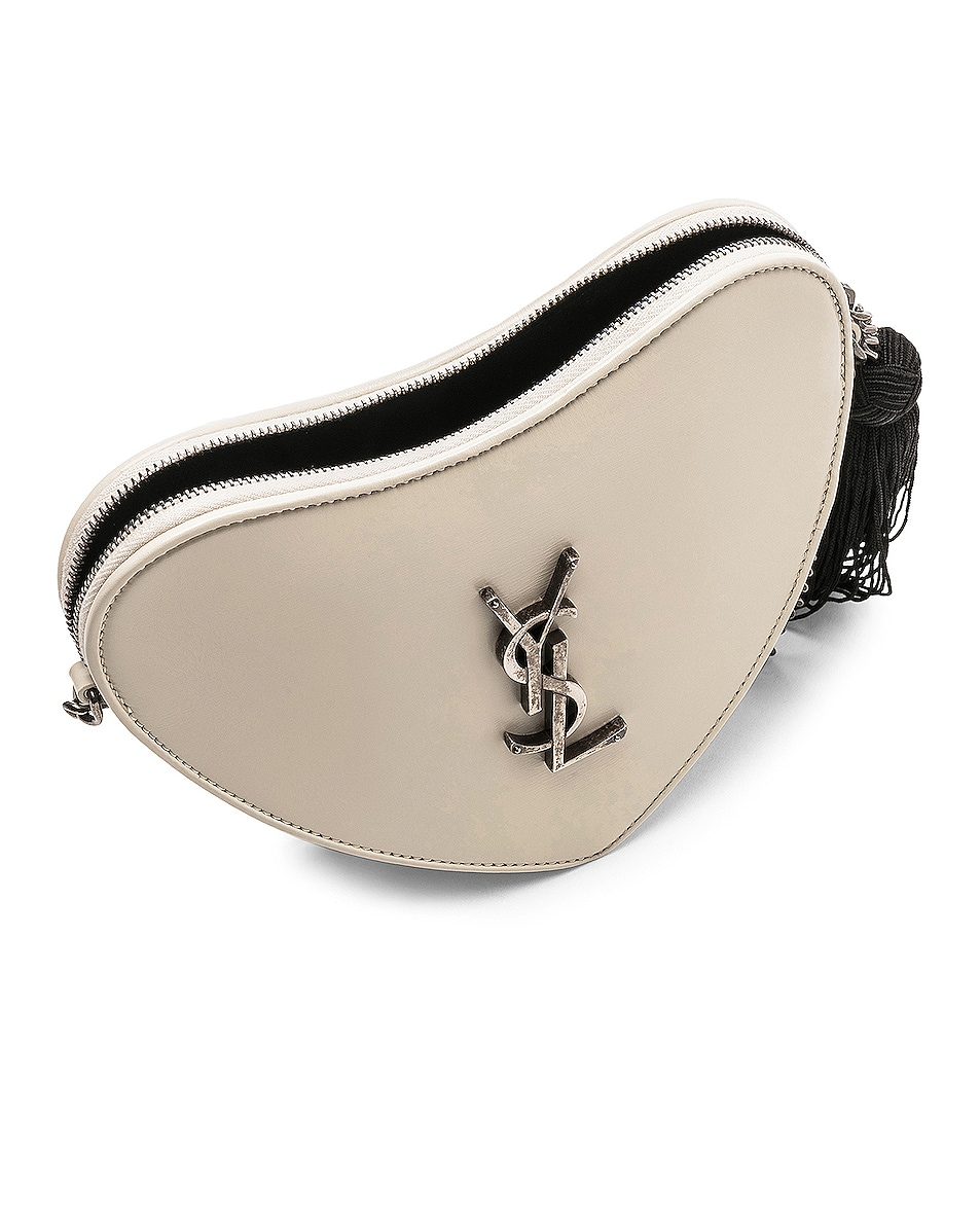 Image 5 of Saint Laurent Sac Coeur Monogram Heart Chain Bag in Blanc Vintage & Black