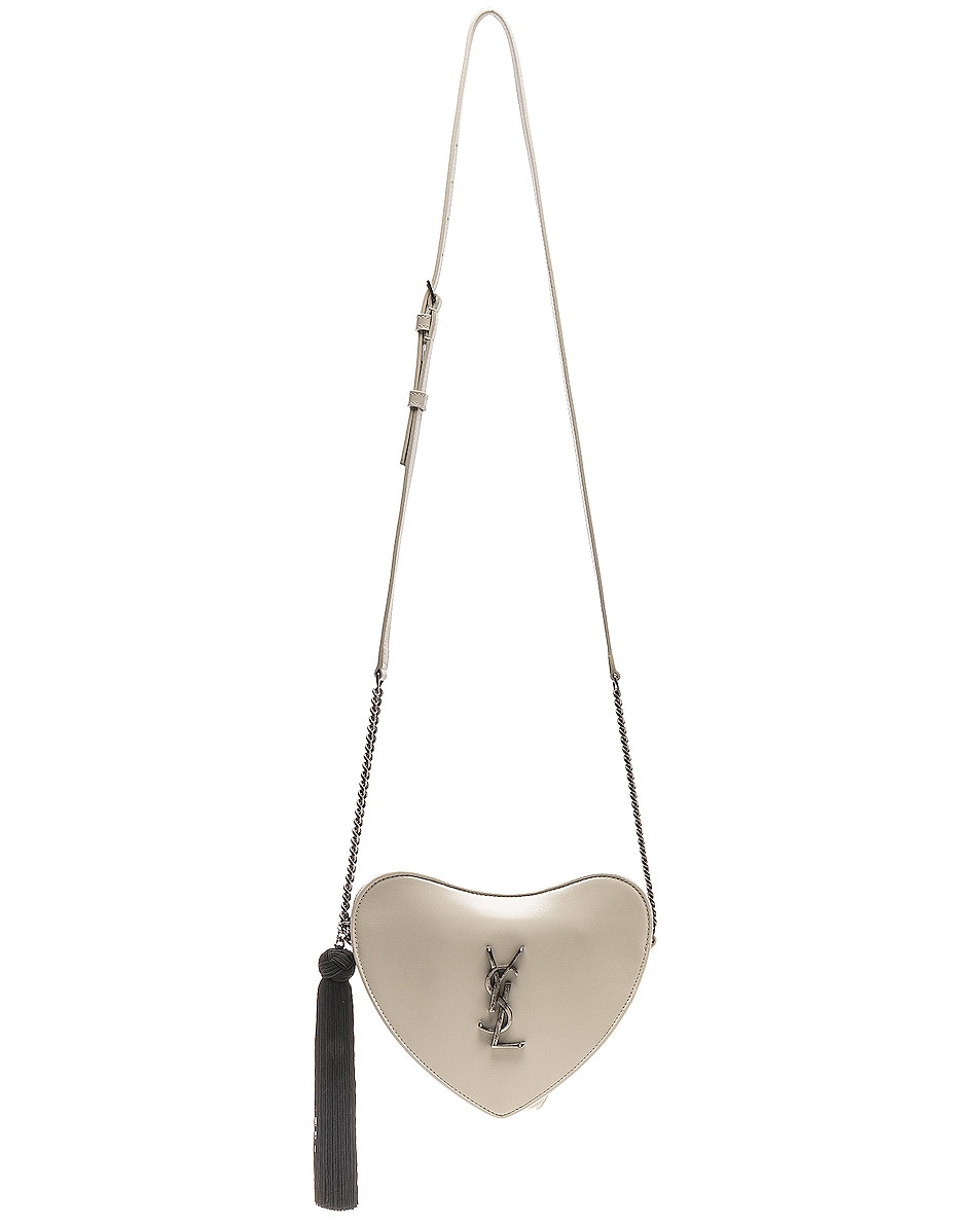 Image 6 of Saint Laurent Sac Coeur Monogram Heart Chain Bag in Blanc Vintage & Black
