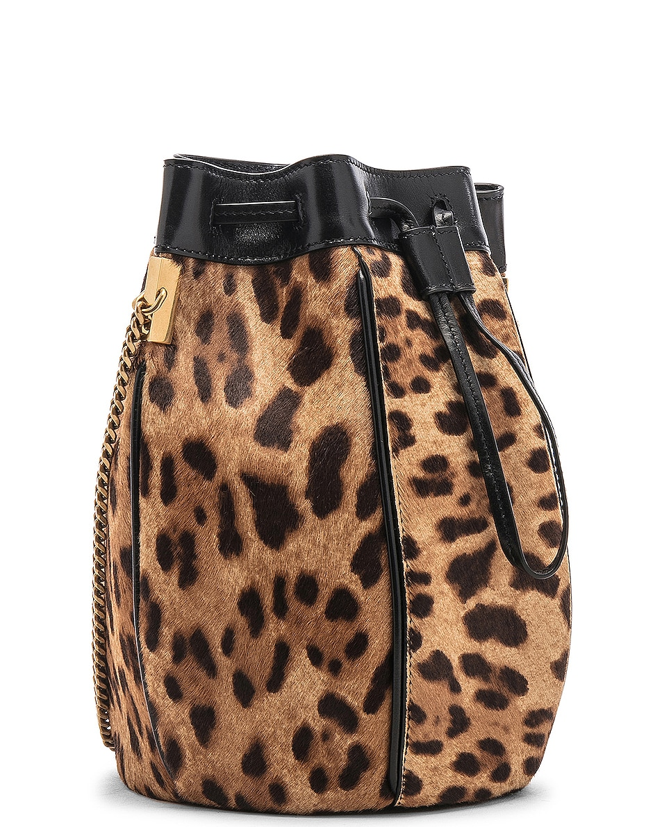 Image 4 of Saint Laurent Small Talitha Leopard Bucket Bag in Natural & Black