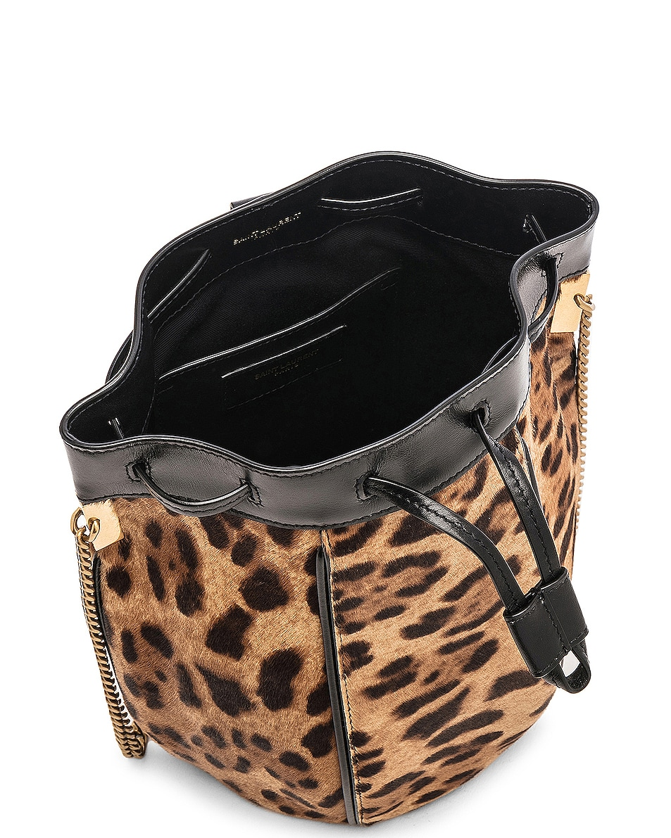 Image 5 of Saint Laurent Small Talitha Leopard Bucket Bag in Natural & Black