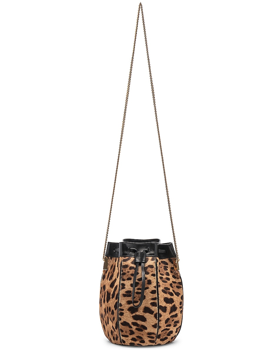 Image 6 of Saint Laurent Small Talitha Leopard Bucket Bag in Natural & Black