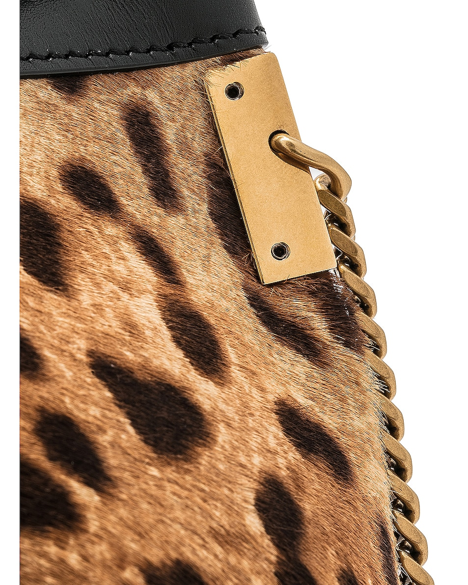 Image 8 of Saint Laurent Small Talitha Leopard Bucket Bag in Natural & Black