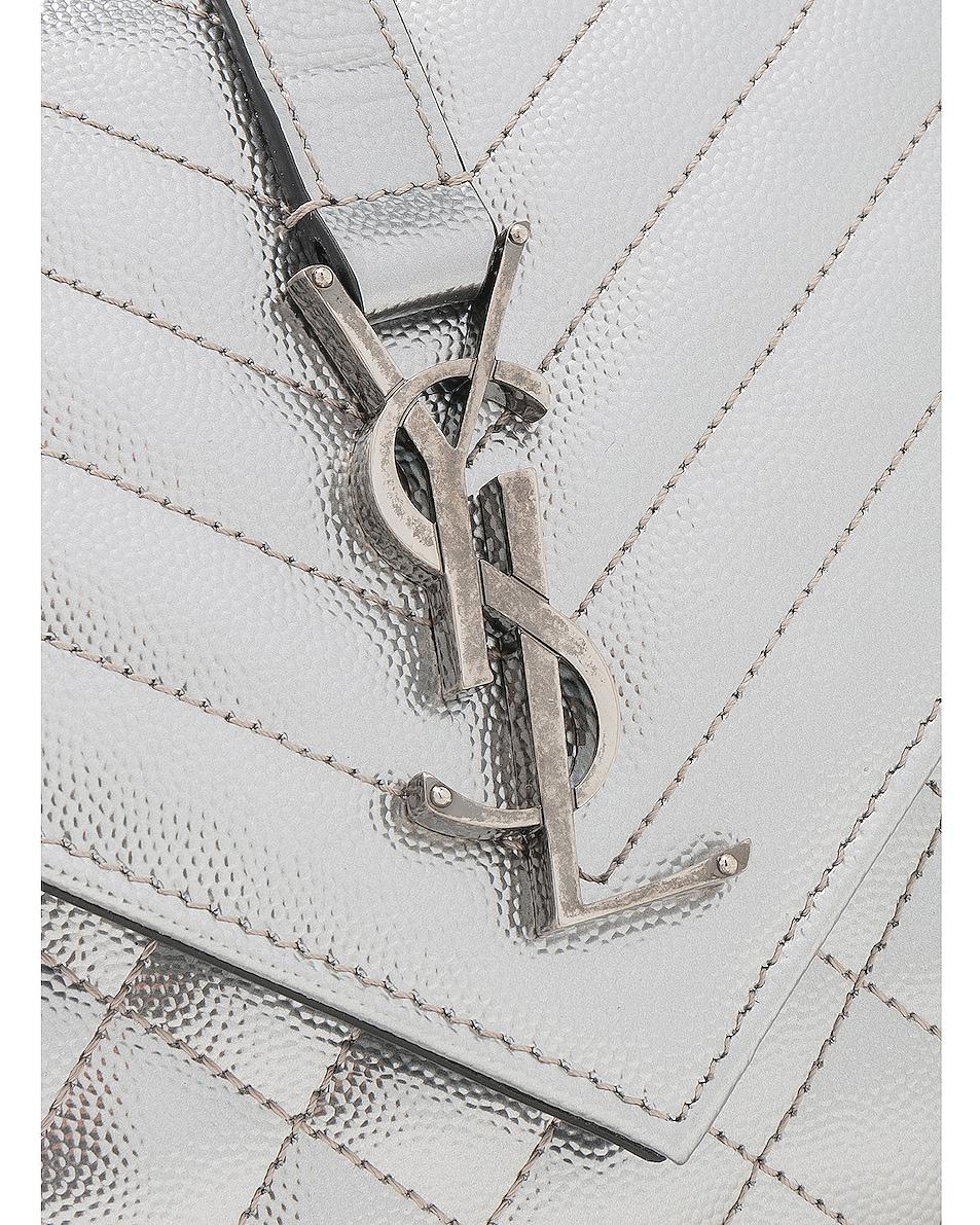 Image 7 of Saint Laurent Medium Envelope Monogramme Bag in Silver