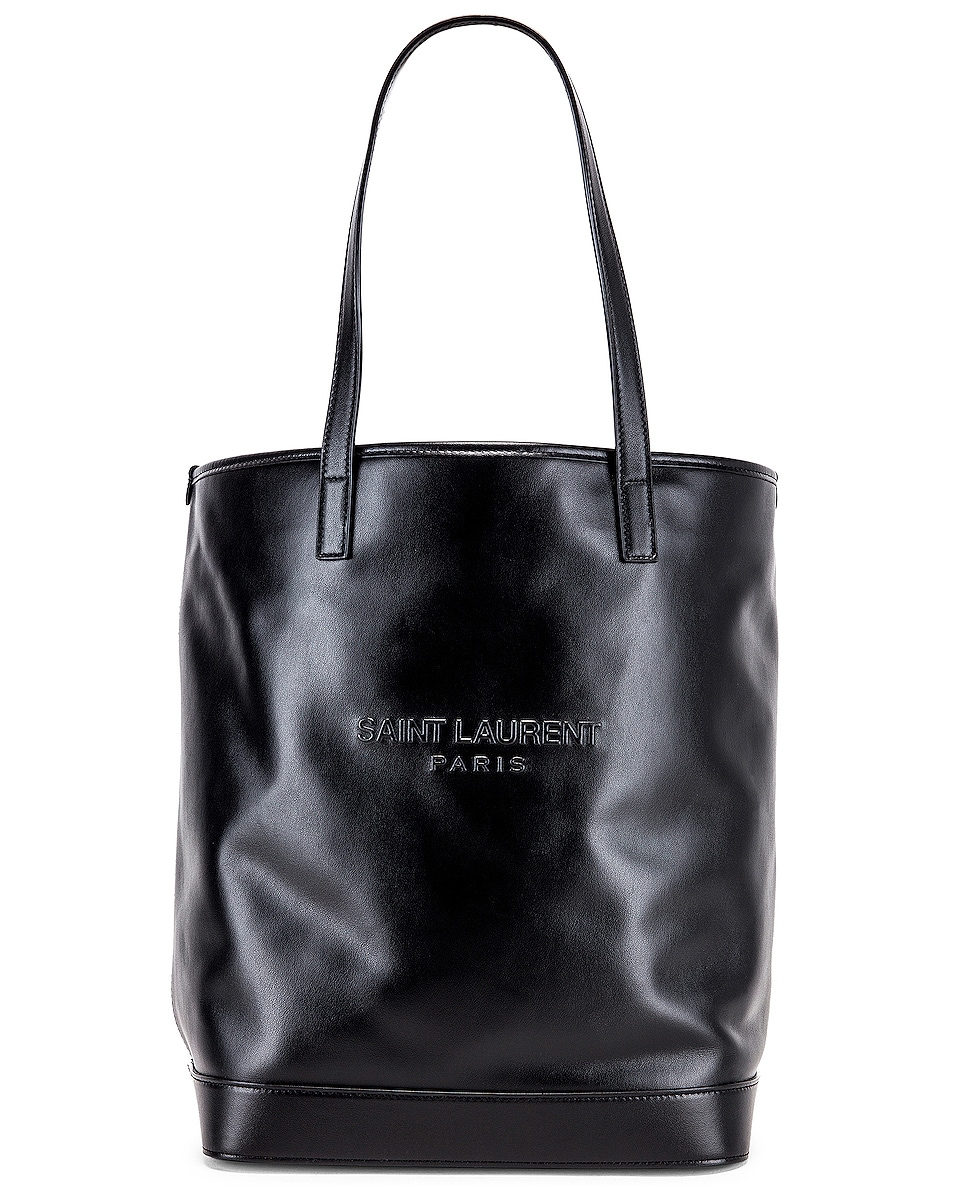 Image 1 of Saint Laurent Teddy Detachable Pouch Shopping Tote in Black & Black